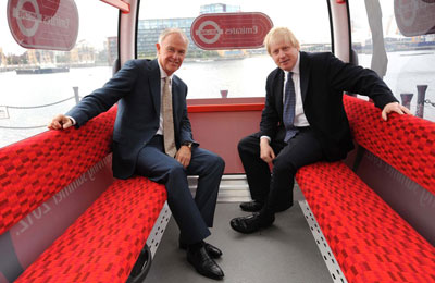 Tim Clark, President, Emirates Airline (left) and Boris Johnson, the Mayor of London inside a mock-up of one of the Emirates Air Line cabins.