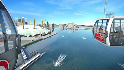 An idea of what the Emirates Air Line will look like when finished in the summer of 2012.