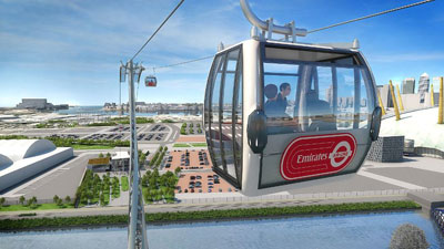 A further illustration of what the Emirates Air Line will look like when opened in the summer of 2012.