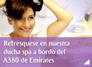 Refrésquese en nuestra ducha spa a bordo del A380 de Emirates