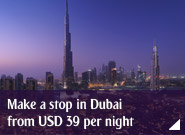 Make a stop in Dubai from USD 39 per night