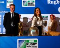 HRH Princess Haya Bint Al Hussein, Wife of Sheikh Mohammed Bin Rashid Al Maktoum, Vice-President and Prime Minister of the UAE and Ruler of Dubai, with Bernard Lapasset, Chairman of Rugby World Cup Limited accompanied by Emirates cabin crew members at the Official Draw of Rugby World Cup Sevens 2009.