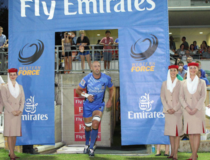 Nathan Sharpe entering the pitch during Emirates sponsor of the match day