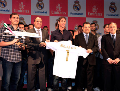 Iker Casillas, Real Madrid captain and goalkeeper; Salem Obaidalla, Senior Vice President, Commercial Operations, Europe & Russian Federation; Sergio Ramos, Real Madrid defender; Boutros Boutros, Divisional Senior Vice President, Corporate Communications; and Florentino Perez, President of Real Madrid.