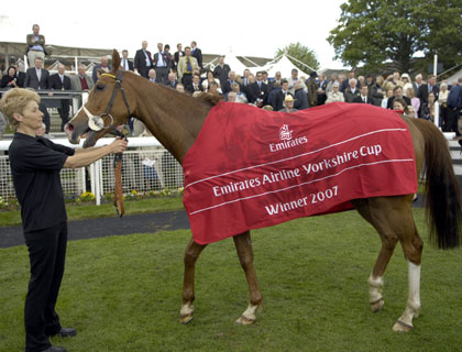 Sgt. Cecil in the winners enclosure after winning the Emirates Airline Yorkshire Cup