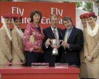Laurie Berryman present the Emirates Airline Yorkshire Cup to Terry Cooper
