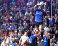 Nathan Sharpe, Emirates Western Force second row forward, wins a line out against Canterbury Crusaders