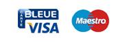 Biểu trưng của Carte Bleue Visa và Maestro