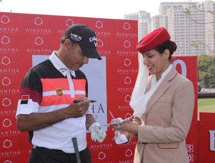 Local favourite Jeev Milkha Singh signing an Emirates A380 aircraft model during the Avantha Masters pro am
